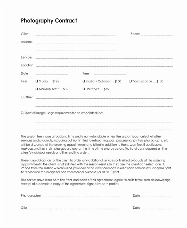 Photography Contract Template Pdf Best Of Sample Graphy Contract form 10 Free Documents In Doc Pdf