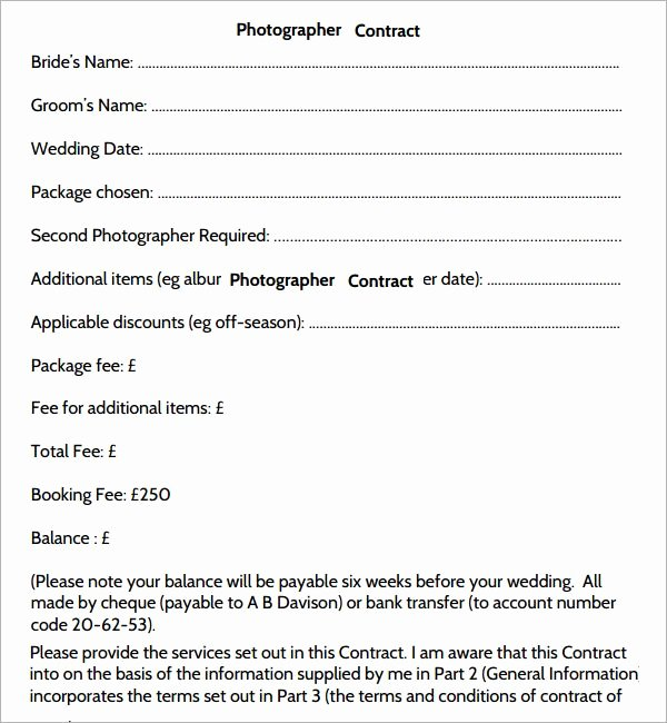 Photography Contract Template Pdf Inspirational Graphy Contract 7 Free Pdf Download Sample Templates Graphy
