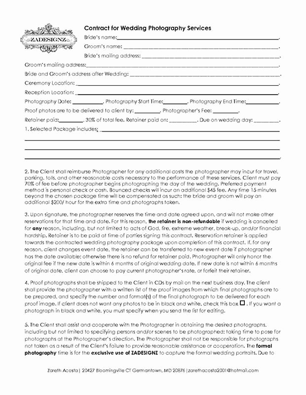 Photography Contract Template Pdf Lovely 5 Free Wedding Graphy Contract Templates