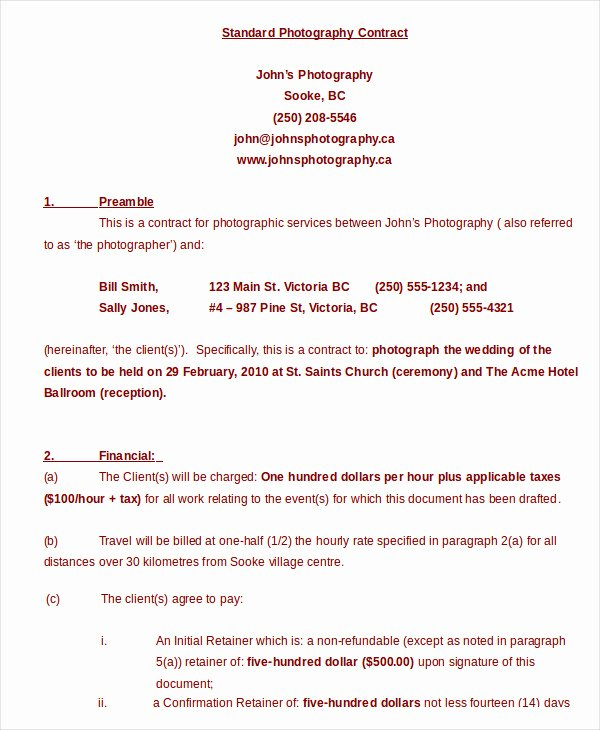 Photography Contract Template Pdf Unique Graphy Contract Example 17 Free Word Pdf Documents Download