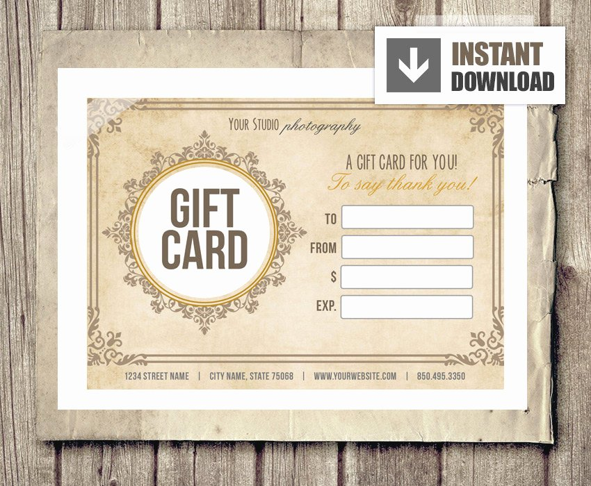 Photography Gift Certificate Template Awesome Gift Card Certificate Template for Graphers Vintage