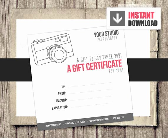 Photography Gift Certificate Template Inspirational Gift Card Gift Certificate Template for Graphers Camera