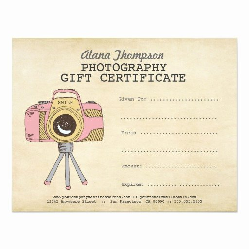 Photography Gift Certificate Template Inspirational Grapher Graphy Gift Certificate Template 4 25x5 5 Paper Invitation Card