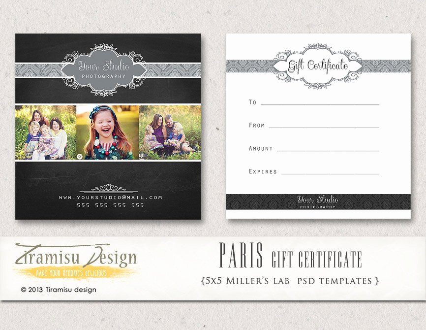 Photography Gift Certificate Template Unique Graphy Gift Certificate Photoshop 5x5 Card Template