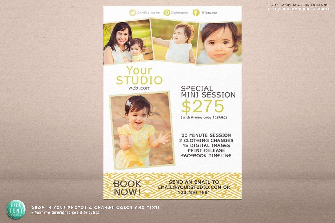 Photography Marketing Templates Free New 5x7 Mini Session Marketing Flyer Flyer Templates Creative Market