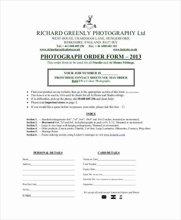 Photography order form Template Elegant Sample Graphy order form 10 Examples In Word Pdf