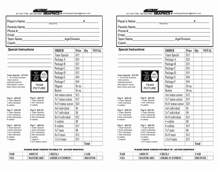 Photography order form Template Elegant Youth Sports Photography order form