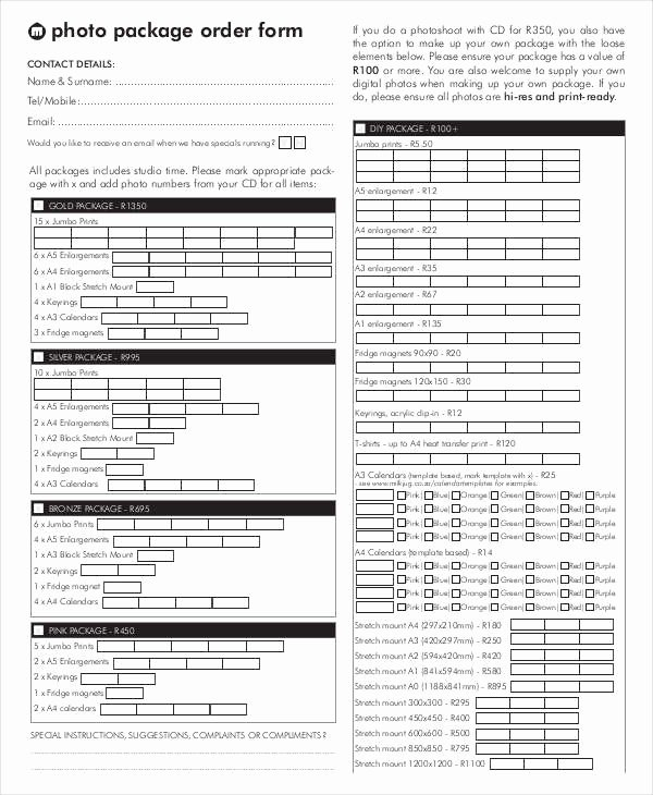 Photography order form Template Free Awesome 12 Package order forms Free Sample Example format Download