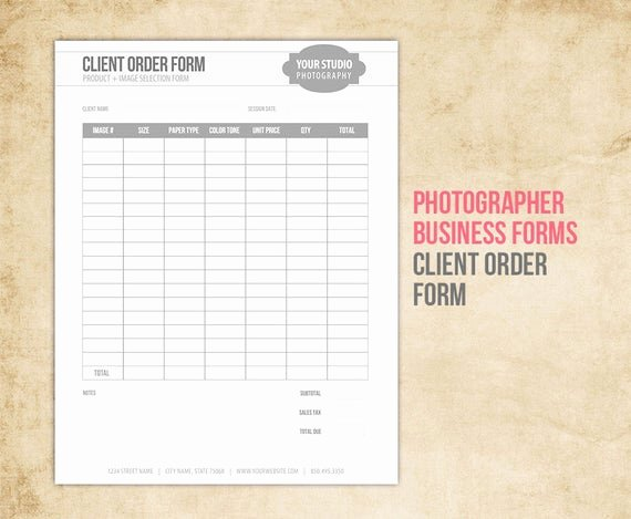 Photography order form Template Free Luxury Graphy Business forms Client order form for