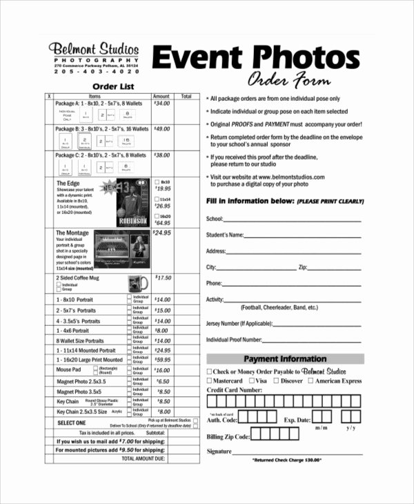 Photography order form Template Free Luxury Sample Graphy order form 10 Examples In Word Pdf