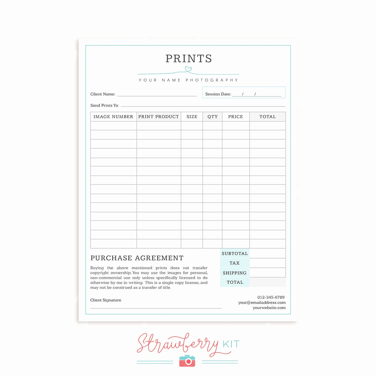 "Photography order form Template Free New Graphy form Templates Bundle ""simply Chic"" Strawberry Kit"