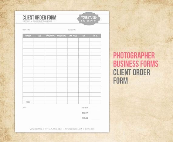 Photography order form Template New Graphy Business forms Client order form for