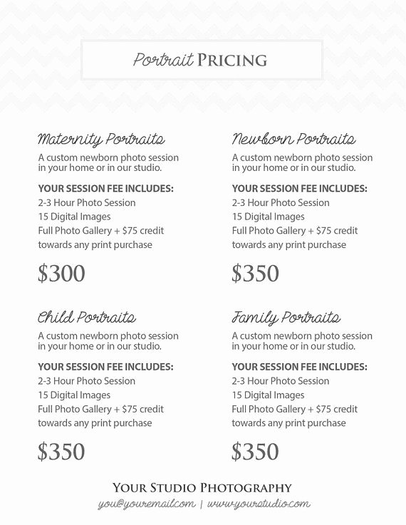 Photography Shot List Template Awesome Graphy Portrait Pricing Grapher Price List Marketing Shop Template