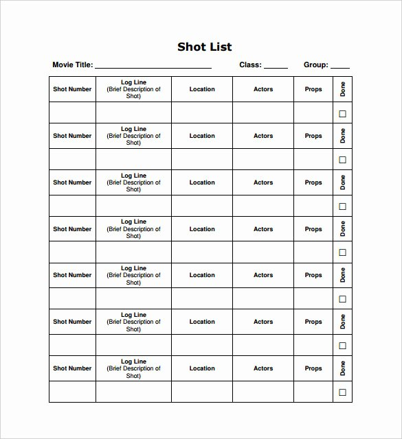 Photography Shot List Template Beautiful Free 8 Shot List Templates In Pdf Word