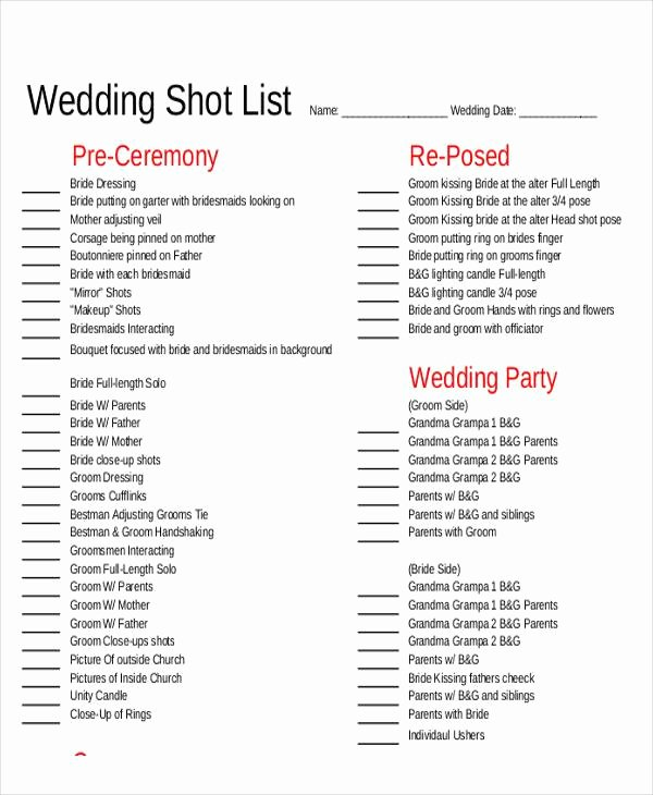 Photography Shot List Template Beautiful Shot List Sample 9 Examples In Word Pdf