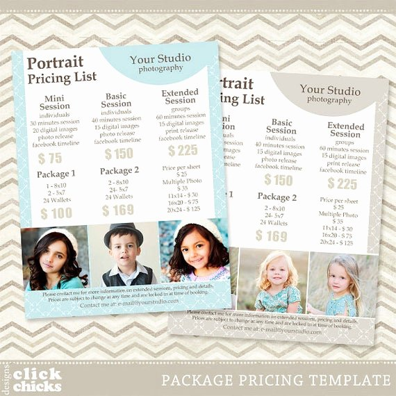 Photography Shot List Template Elegant Graphy Package Pricing List Template Portrait