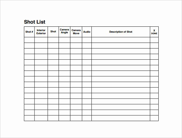 Photography Shot List Template Elegant Shot List Template 10 Download Free Documents In Word Pdf