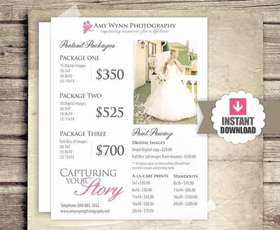 Photography Shot List Template Fresh Wedding Graphy Price List Session Packages Pricing