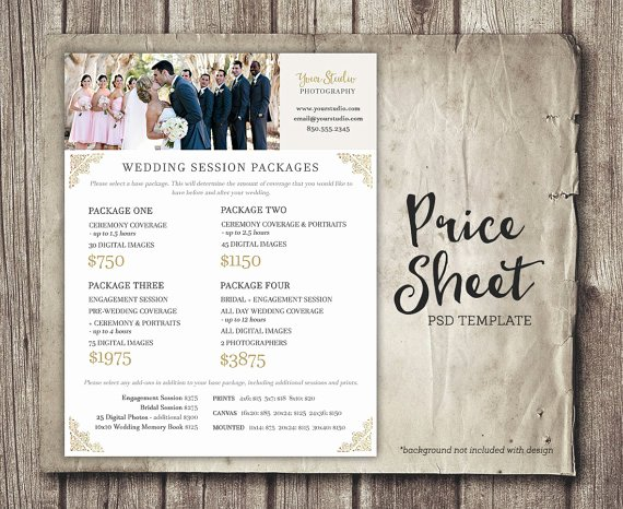 Photography Shot List Template Lovely Wedding Graphy Price Sheet Price List Template