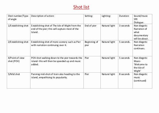 Photography Shot List Template Luxury Shot List
