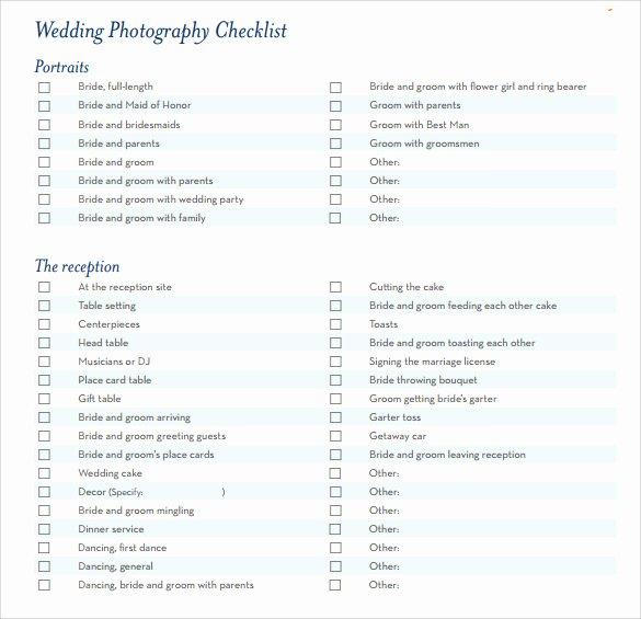 Photography Shot List Template Unique 7 Wedding Planning Checklist Samples