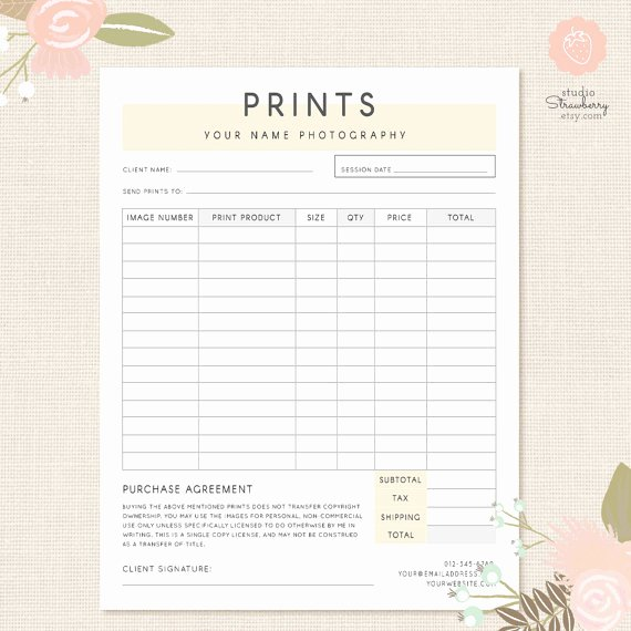 Photography Shot List Template Unique order form Template Graphy order form Graphy