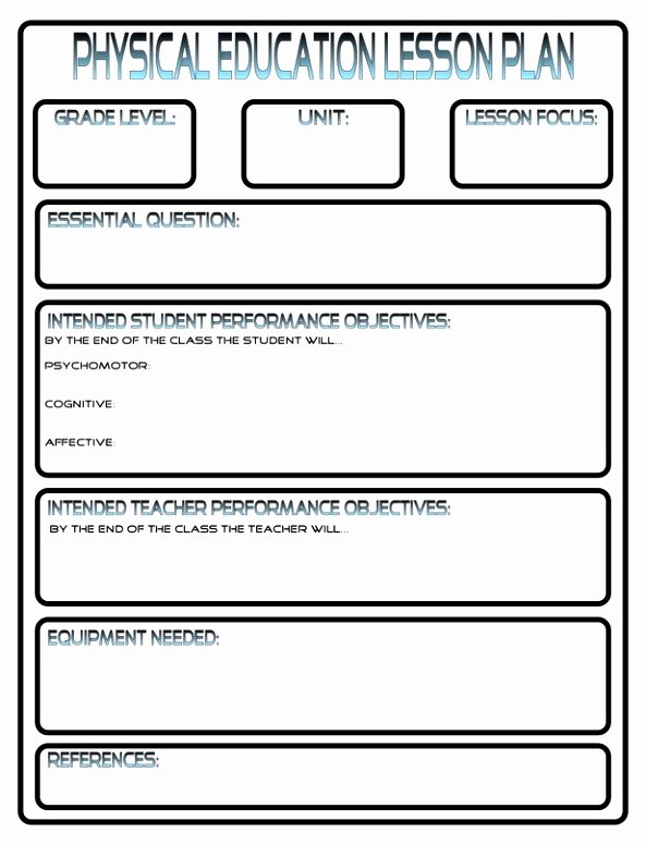 Phys Ed Lesson Plan Template Awesome 10 Lesson Plan Template for Physical Education Eipot