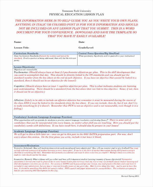 Phys Ed Lesson Plan Template Awesome 7 Physical Education Lesson Plan Templates Pdf Word