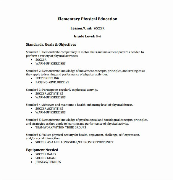 Phys Ed Lesson Plan Template Elegant 7 Physical Education Lesson Plan Templates Word Apple Pages Google Docs