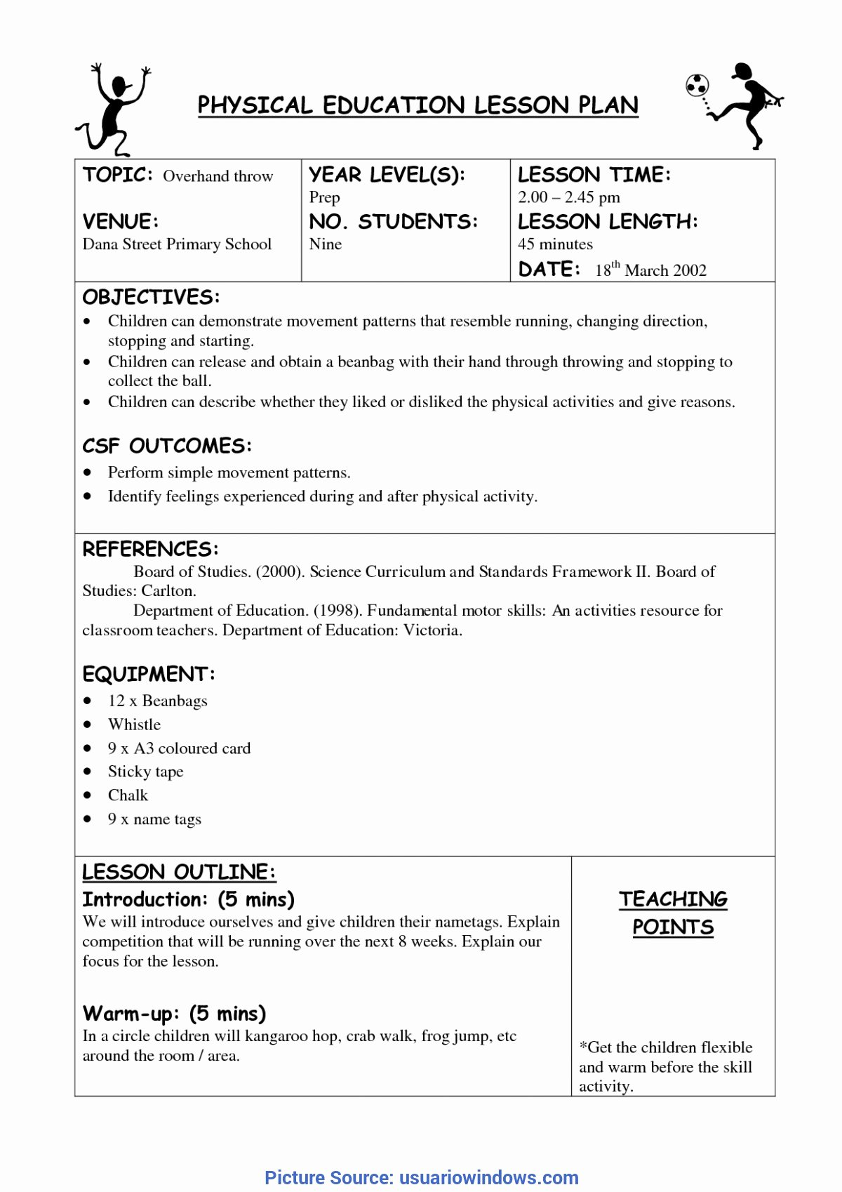 Phys Ed Lesson Plan Template Elegant Regular Pe Lesson Plan Template Physical Education Lesson Plan Template