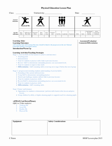 Phys Ed Lesson Plan Template Inspirational Primary Pe Lesson Plan and Planning for An Outstanding Lesson by Craigpaton Teaching Resources