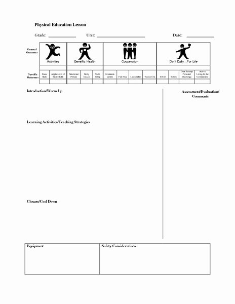 Phys Ed Lesson Plan Template Luxury Physical Education Lesson Plans & Worksheets