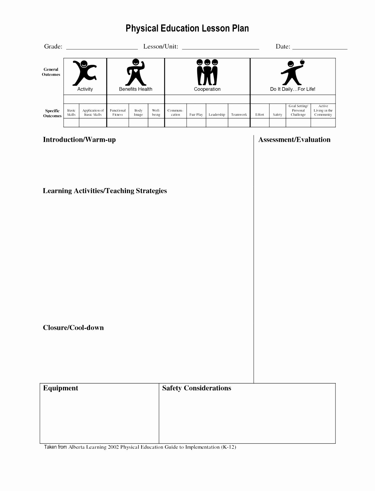 Phys Ed Lesson Plan Template Unique 10 Lesson Plan Template for Physical Education Eipot