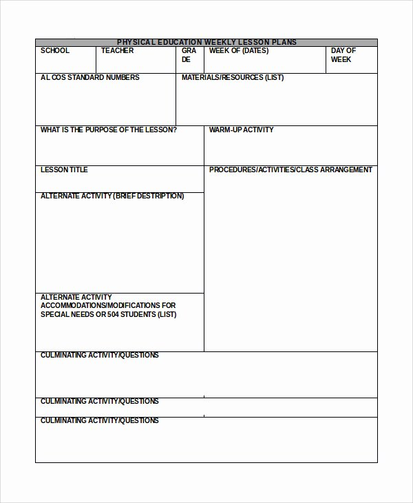 Phys Ed Lesson Plan Template Unique Special Needs Lesson Plan Template – Get Physical Education Lesson Plan Template 14 Free Samples