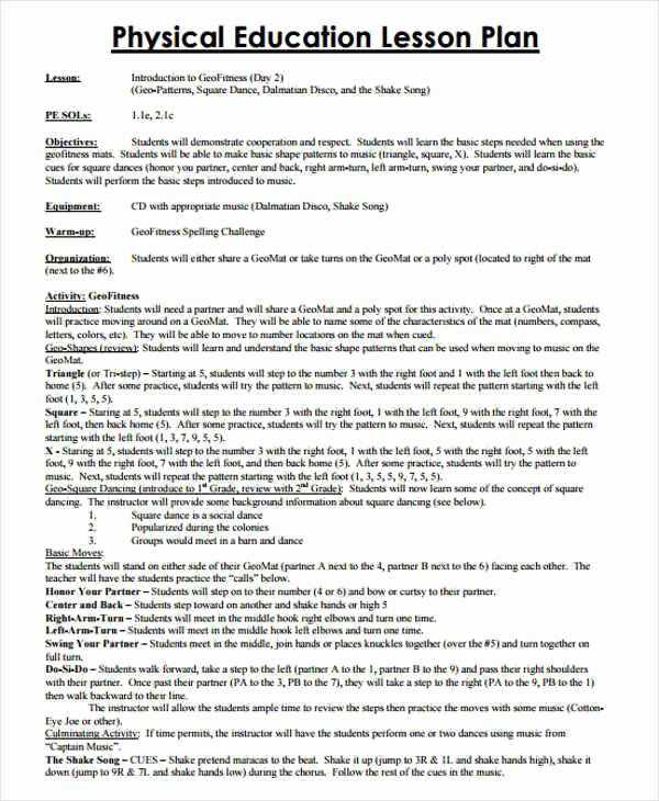 Physical Education Lesson Plan Template Awesome 7 Lesson Plan Samples & Templates In Pdf