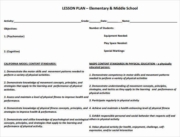 Physical Education Lesson Plan Template Best Of Sample Physical Education Lesson Plan 14 Examples In Pdf Word format