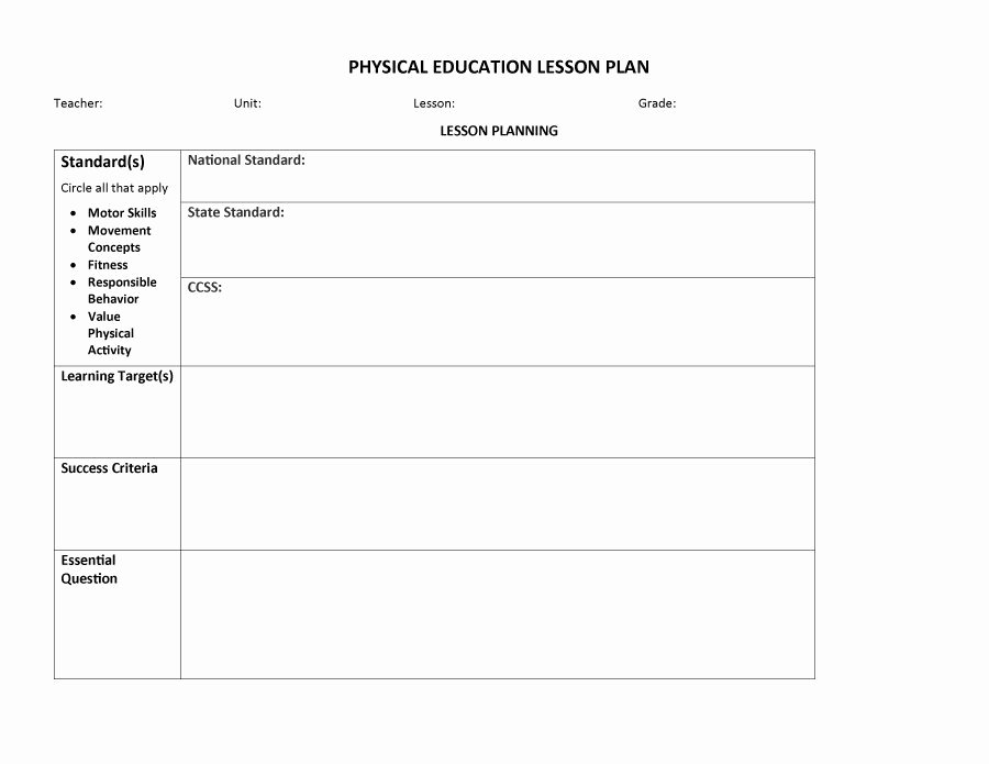 Physical Education Lesson Plan Template Elegant Physical Education Lesson Plan Template Bizoptimizer