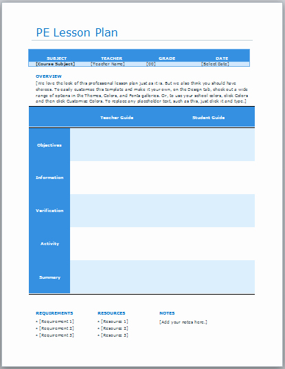 Physical Education Lesson Plan Template Elegant Ready Lesson Plan Archives Blue Layouts