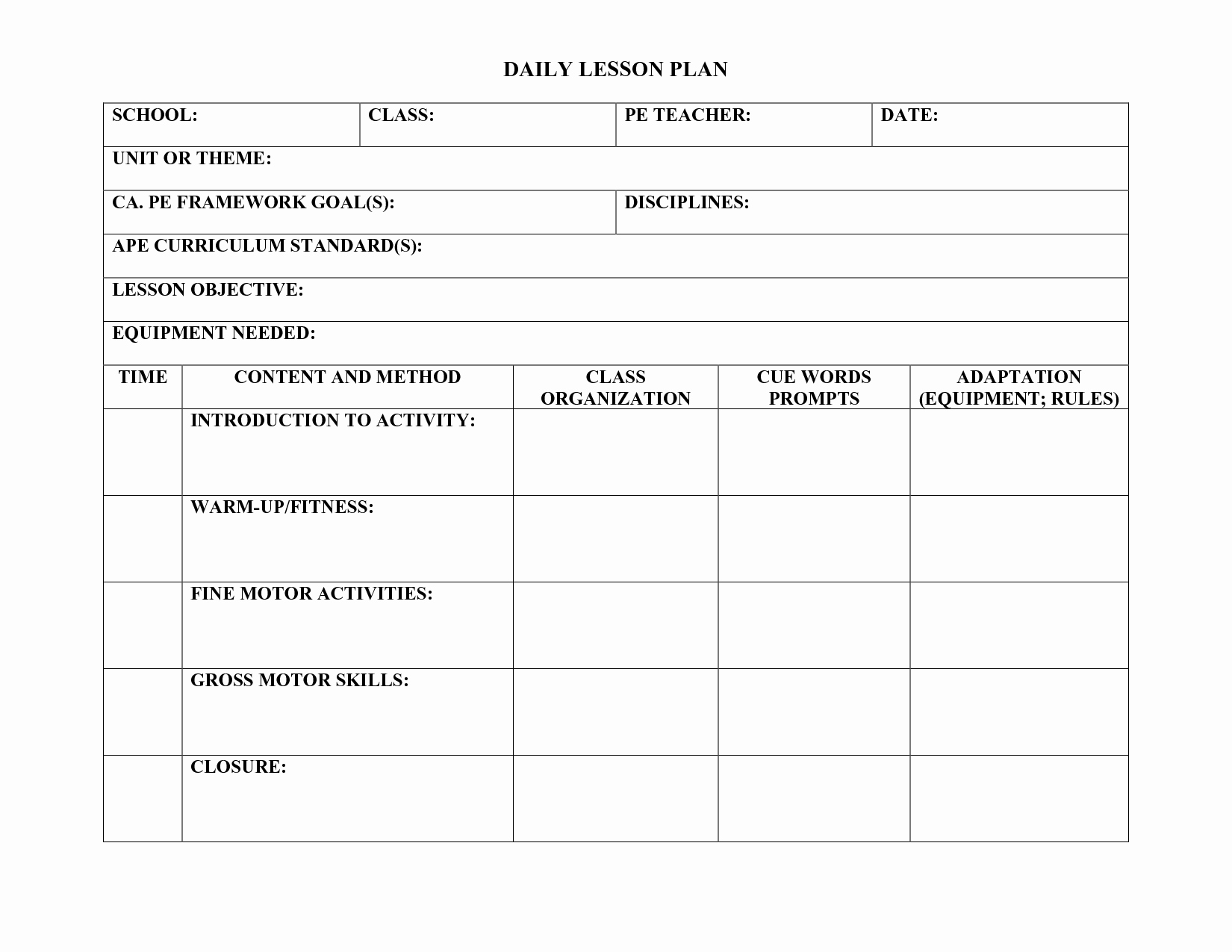 Physical Education Lesson Plan Template Inspirational Pe Lesson Plan Template Teachers Pinterest