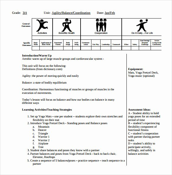 Physical Education Lesson Plan Templates Awesome Sample Physical Education Lesson Plan 14 Examples In Pdf Word format