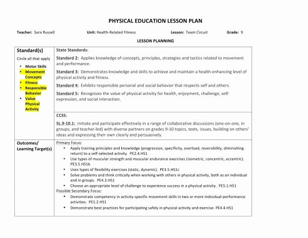 Physical Education Lesson Plans Template Beautiful Free 10 Physical Education Lesson Plan Samples In Pdf