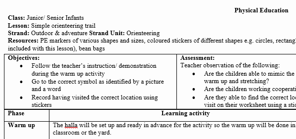 Physical Education Lesson Plans Template Best Of Infant Physical Education Pe orienteering Lesson Plan – Mash