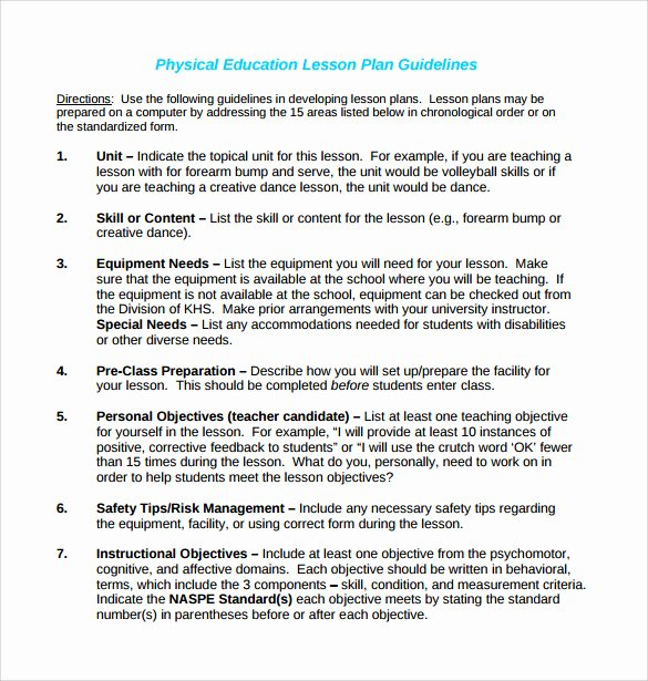 Physical Education Lesson Plans Template Inspirational Sample Physical Education Lesson Plan 14 Examples In Pdf Word format