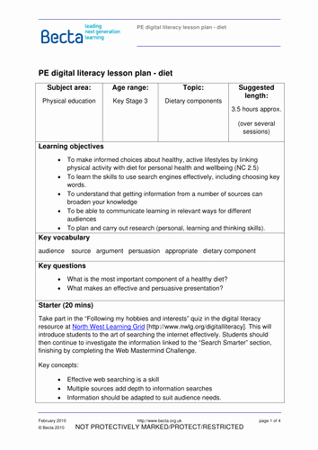 Physical Education Lesson Plans Template Unique Digital Literacy Lesson Plan Pe by Ictfrombecta Teaching Resources Tes