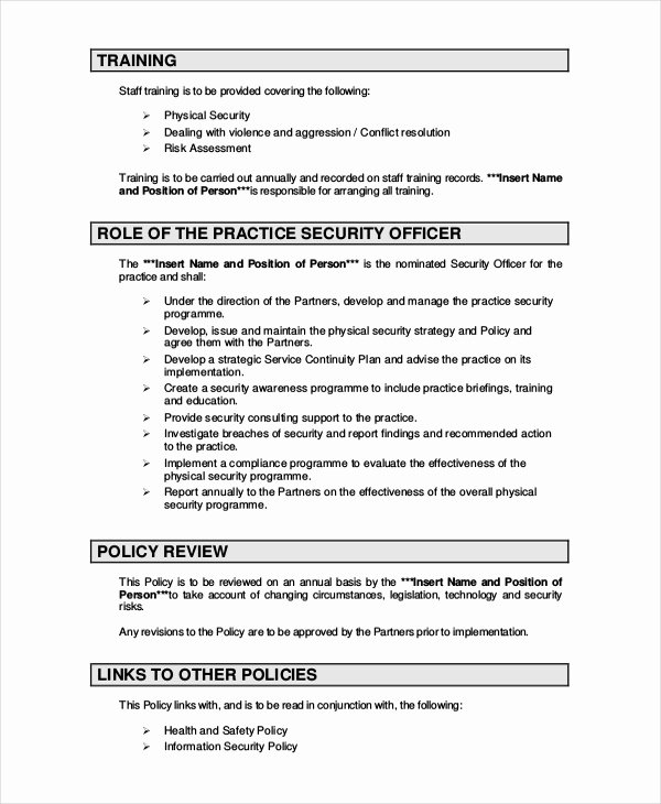 Physical Security Policy Template Awesome Security Policy Template 7 Free Word Pdf Document Downloads