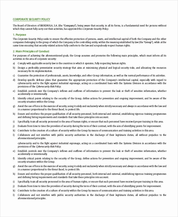 Physical Security Policy Template Best Of Security Policy Template 7 Free Word Pdf Document Downloads