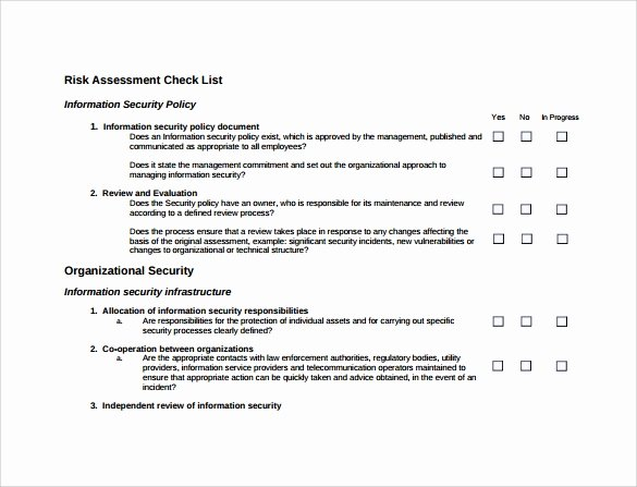 Physical Security Policy Template Inspirational Free 12 Sample Security Risk assessment Templates In Pdf