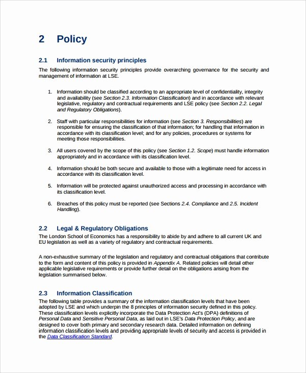 Physical Security Policy Template Unique Sample It Security Policy Template 9 Free Documents Download In Word Pdf
