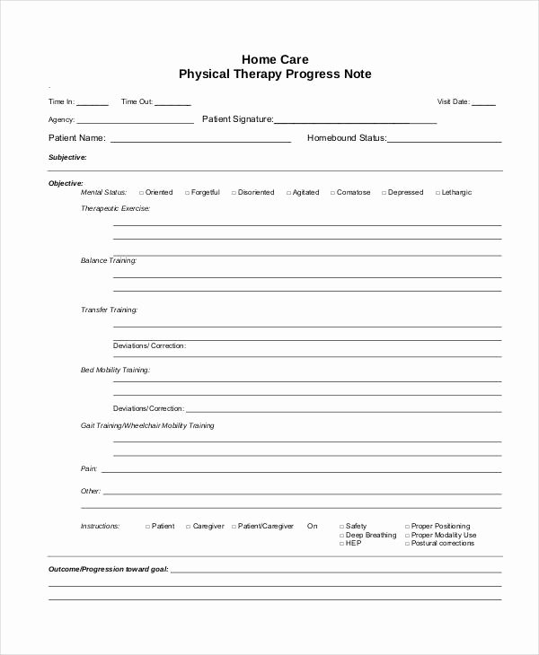 Physical therapy Progress Note Template Beautiful Free 5 therapy Note Examples & Samples In Pdf Doc