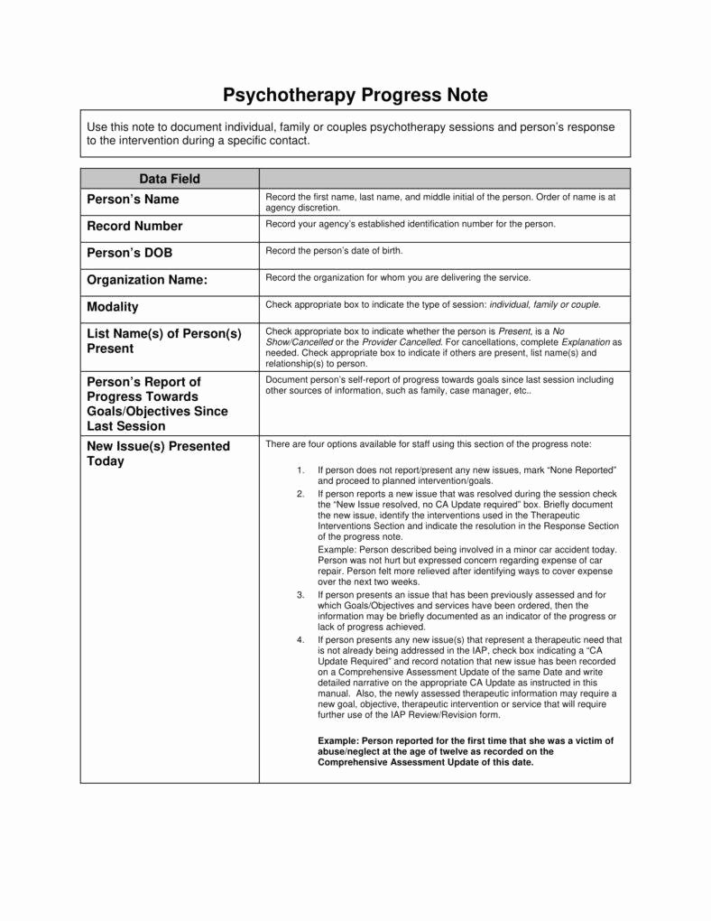 Physical therapy Progress Note Template Lovely 8 Psychotherapy Note Templates for Good Record Keeping Pdf
